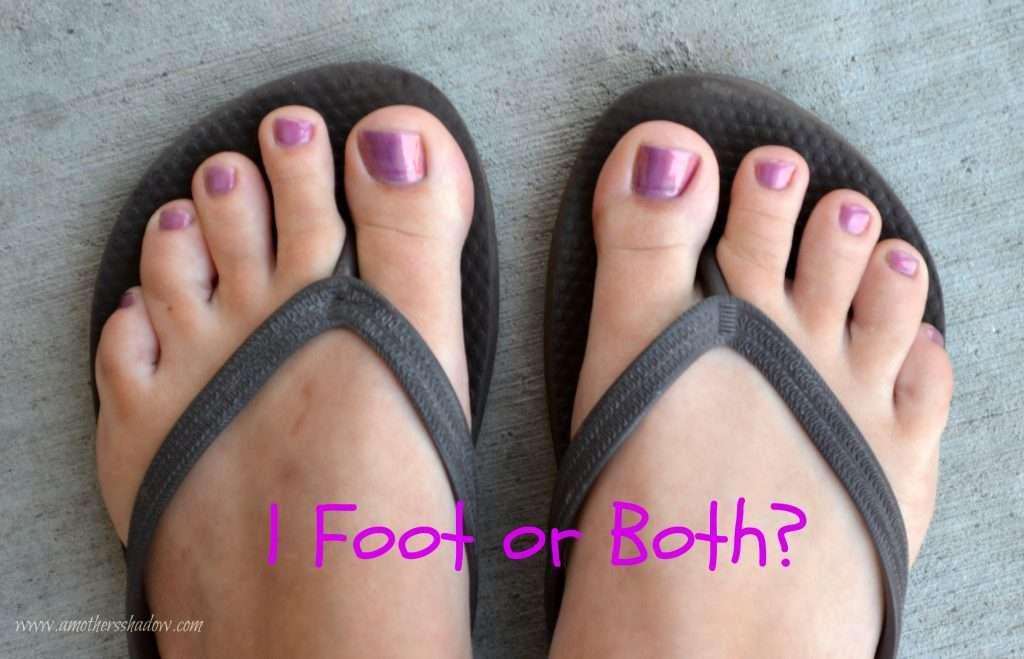 Feet in flip flops