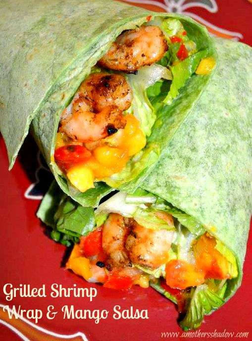 A Caribbean Jerk seasoned shrimp with a sweet and savory mango salsa