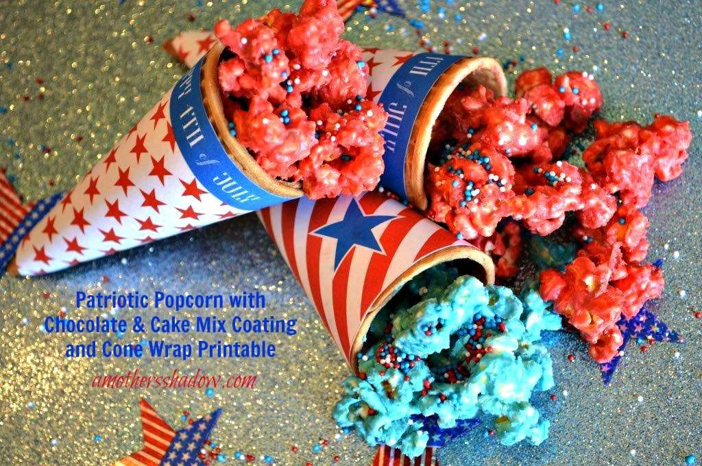 Popcorn colored Red and Blue in a Patriotic themed wrapper over a sugar cone
