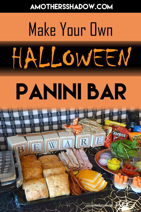 Easy and fun way to make your own panini bar, ideas for ingredients, display for party, family and guests for Halloween