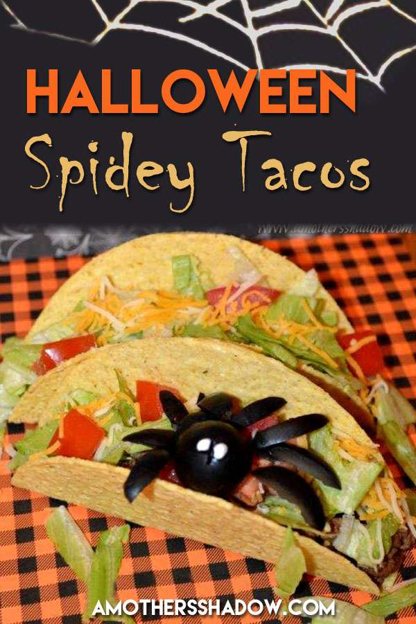 A taco with a spider made out of an olive on top to make it Halloween festive