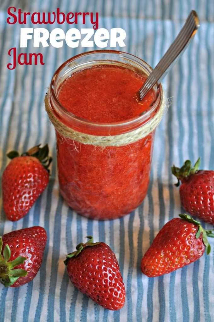 Fresh homemade strawberry freezer jam